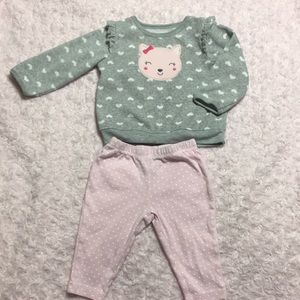 Carters sweater 6-9 months &carters pants 6 months